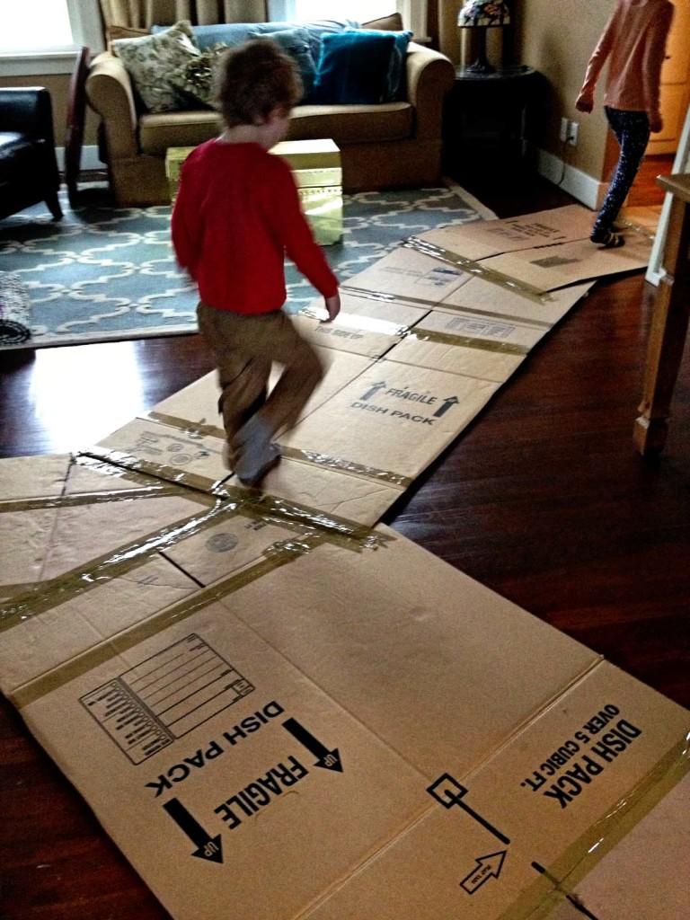Cardboard walkway