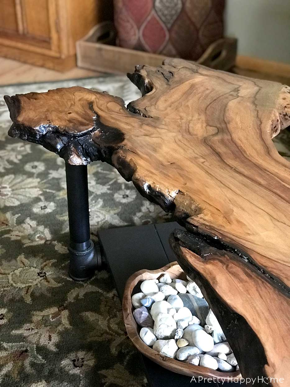 Fine Diy Live Edge Wood Coffee Table A Pretty Happy Home Machost Co Dining Chair Design Ideas Machostcouk