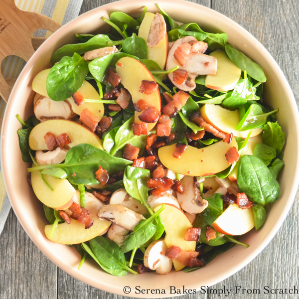 Fuji Apple Spinach Bacon Salad With Creamy Honey Mustard Viniagrette (1 of 1)