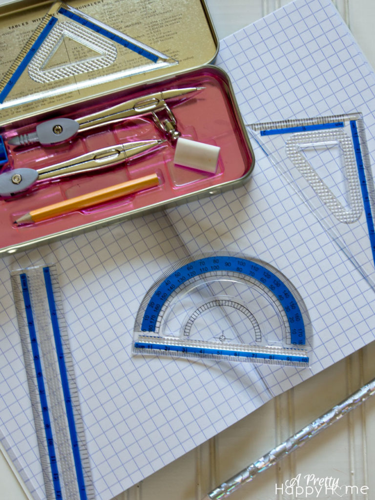 protractor and school books