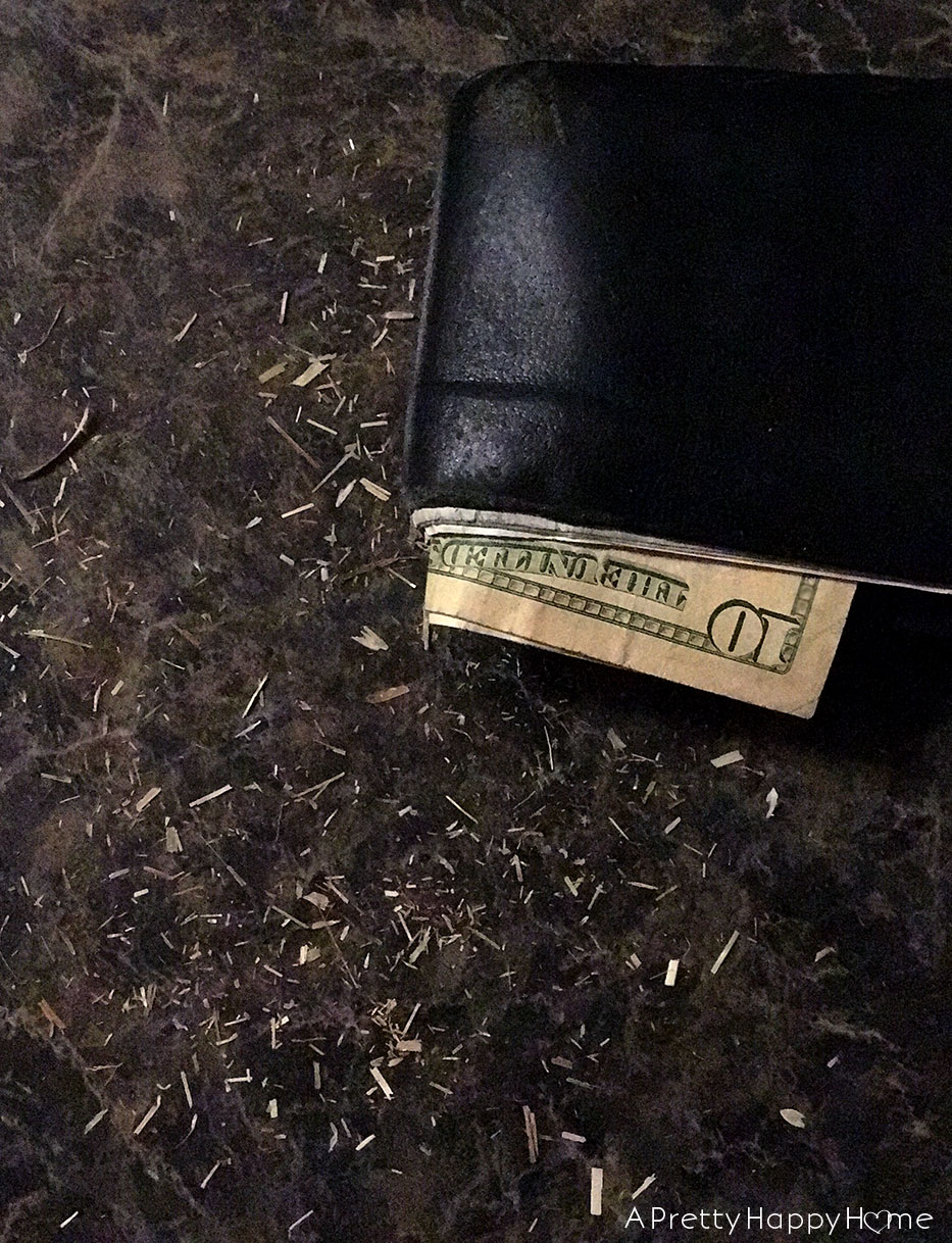 farmer wallet with hay