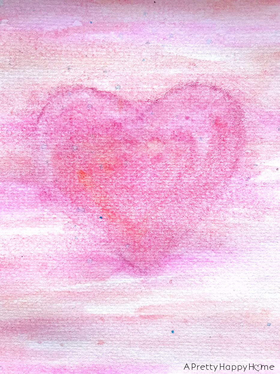 watercolor heart on the happy list