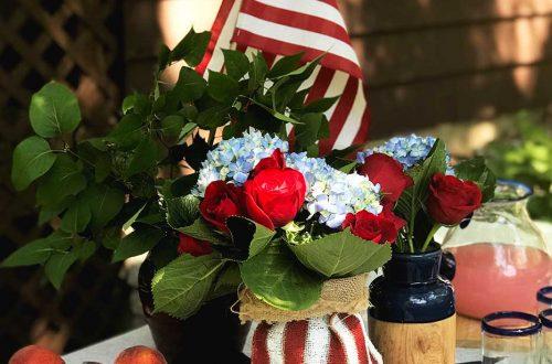 burlap american flag centerpiece