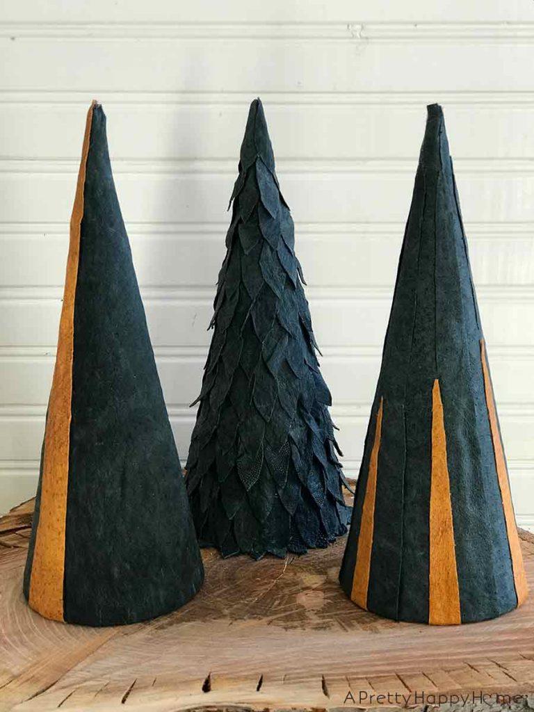 leather christmas trees easy diy christmas decor ideas