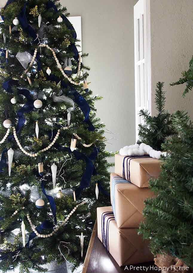 christmas tree blue and white on the happy list