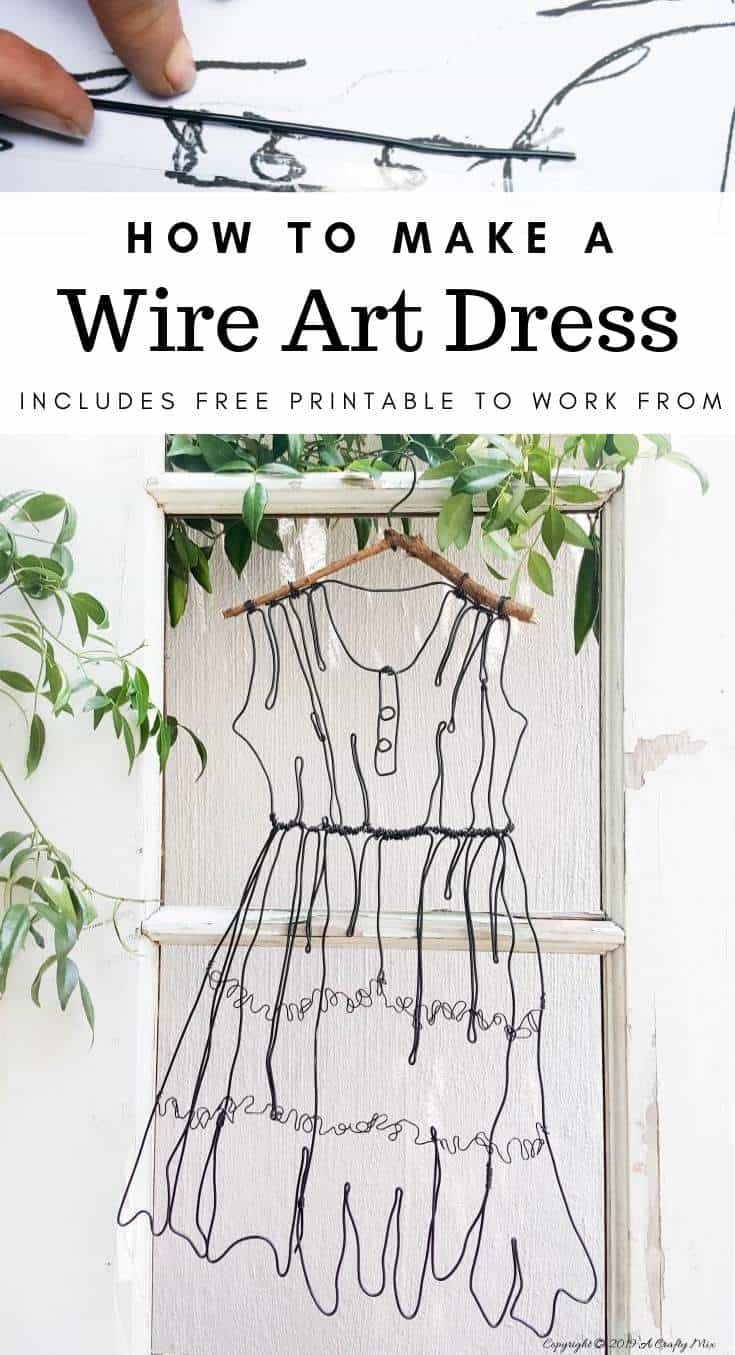 wire art dress by a crafty mix