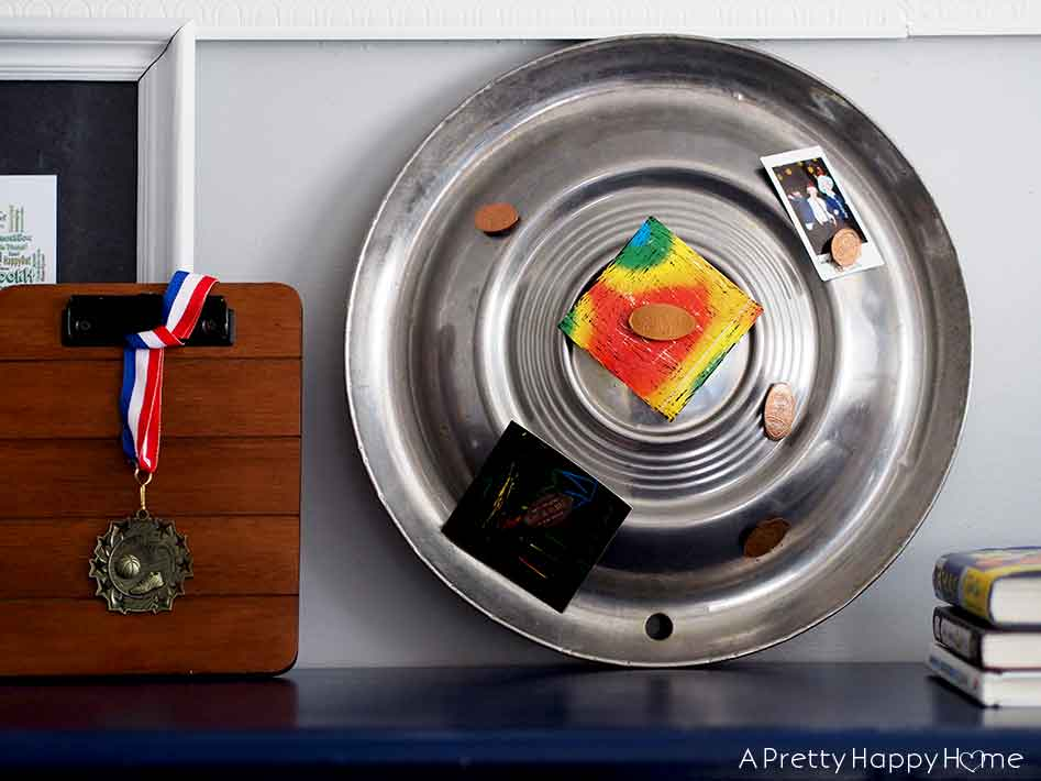 Use for old hubcaps magnetic Bulletin Board