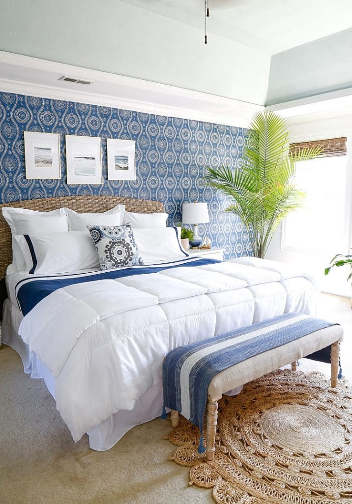 coastal blue bedroom by sand and sisal