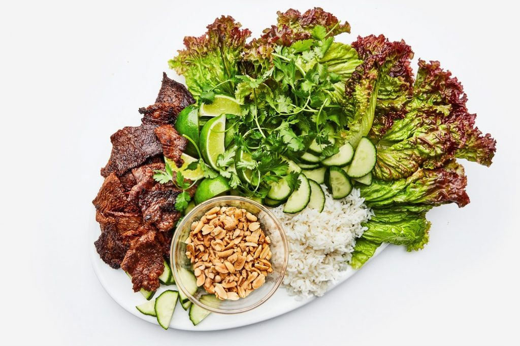 spicy steak lettuce wraps via bon appetit