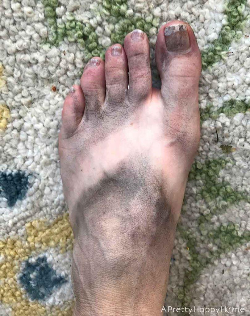spray painted foot