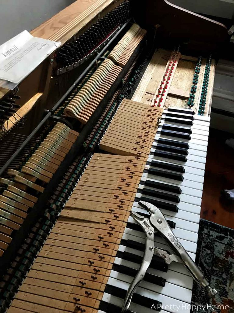 taking apart a piano is hard