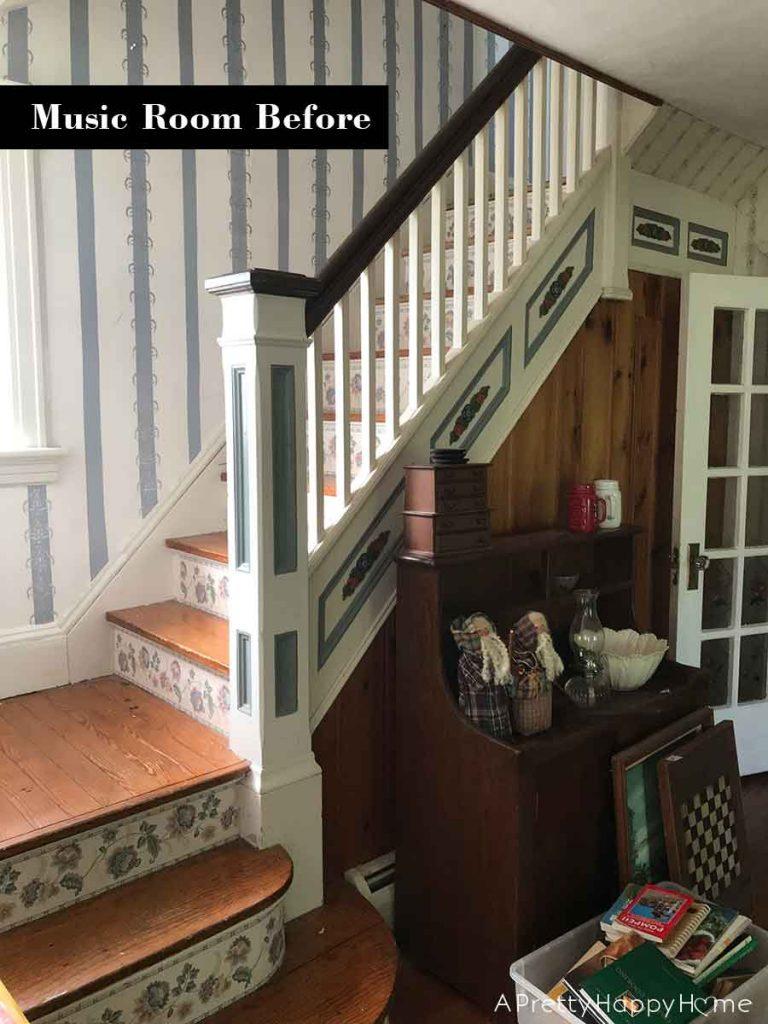 main staircase colonial farmhouse before