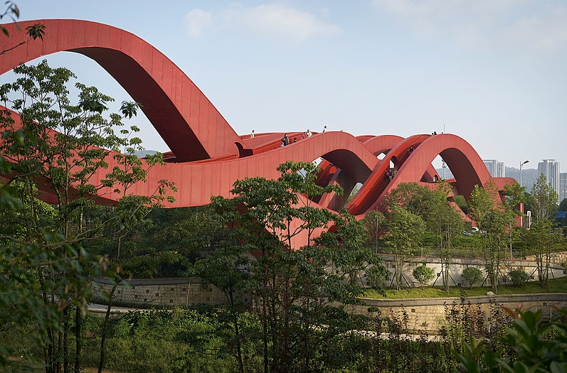 lucky know pedestrian bridge china by next architects on the happy list
