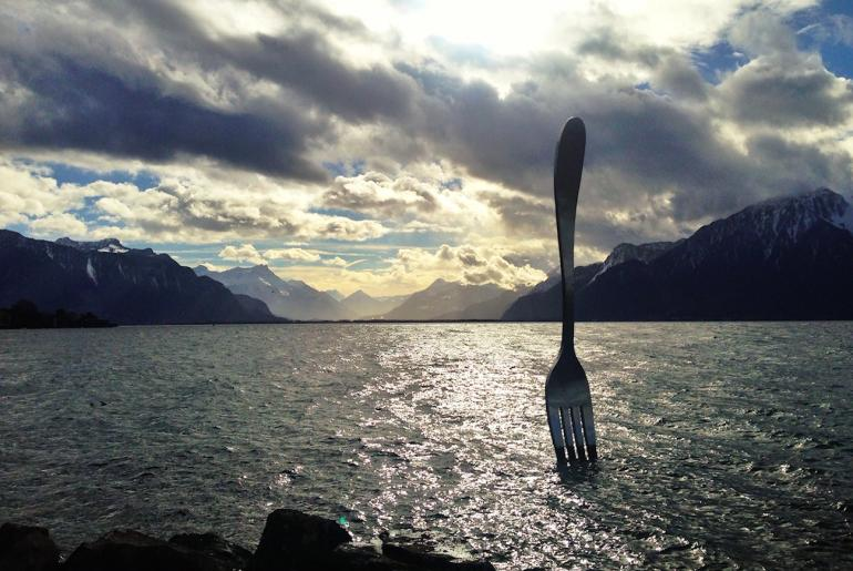 fork sculpture lake geneva via alimentarium on the happy list