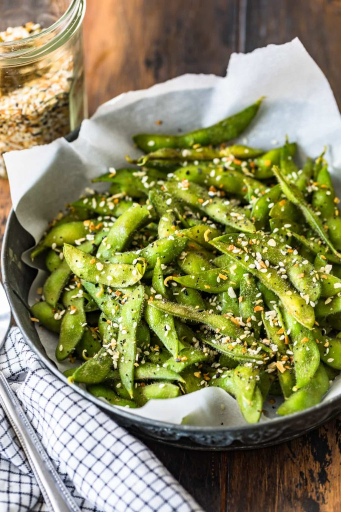 edamame with everything bagel seasoning from cookie rookie on the happy list