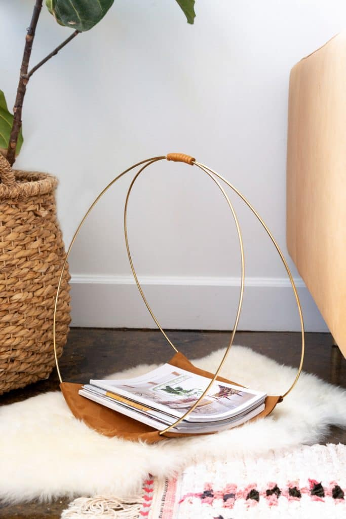diy gold hoop magazine holder via alice and lois on the happy list