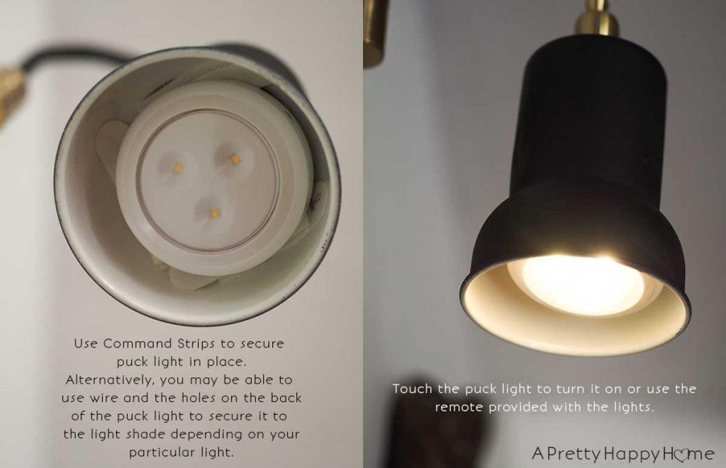 magic light trick lights using battery operated puck lights