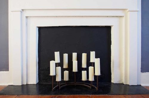led candles in a non-working master bedroom fireplace