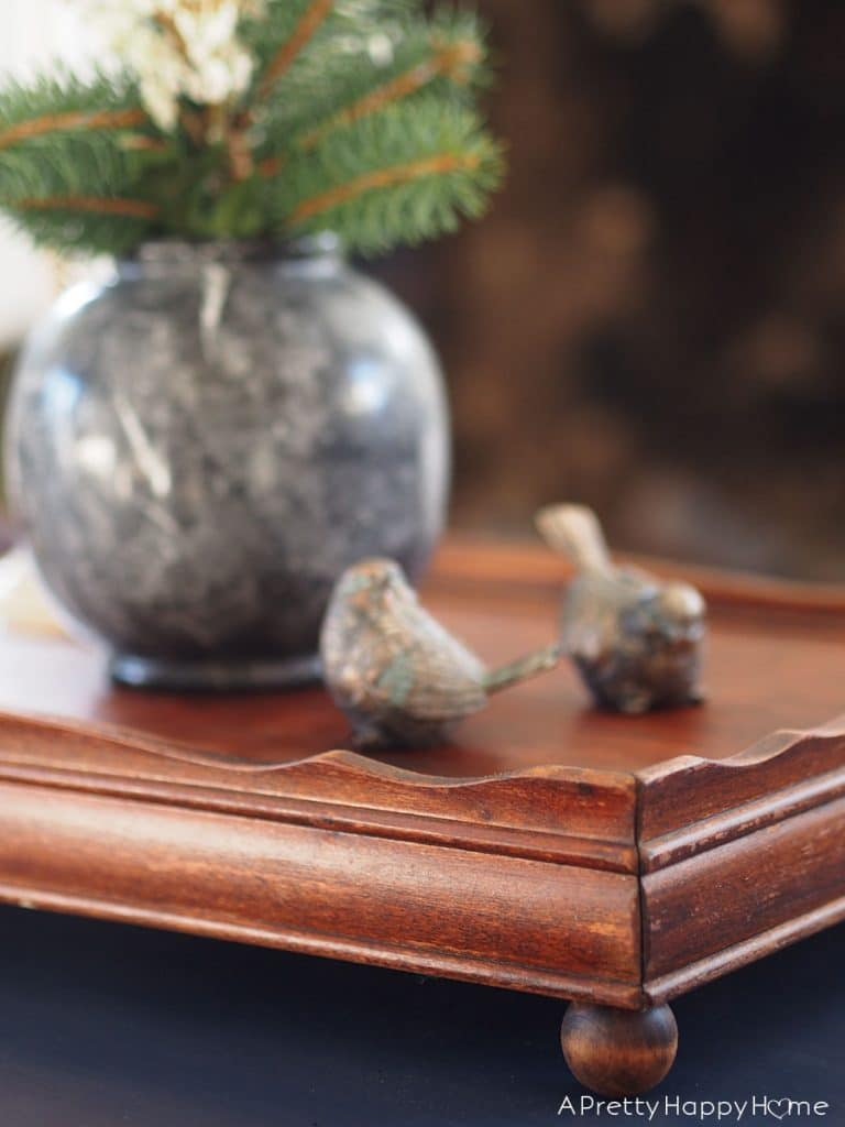 turn an accent table into a decorative tray