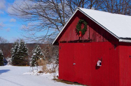 a touch of christmas on our barn barn wreath