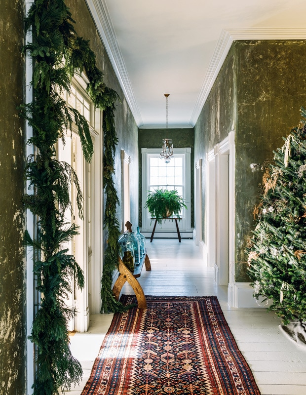 green paint under wallpaper at country and home on the happy list