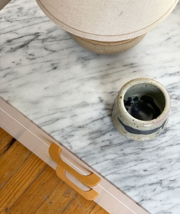 ikea nightstand hack with marble top via manhattan nest on the happy list