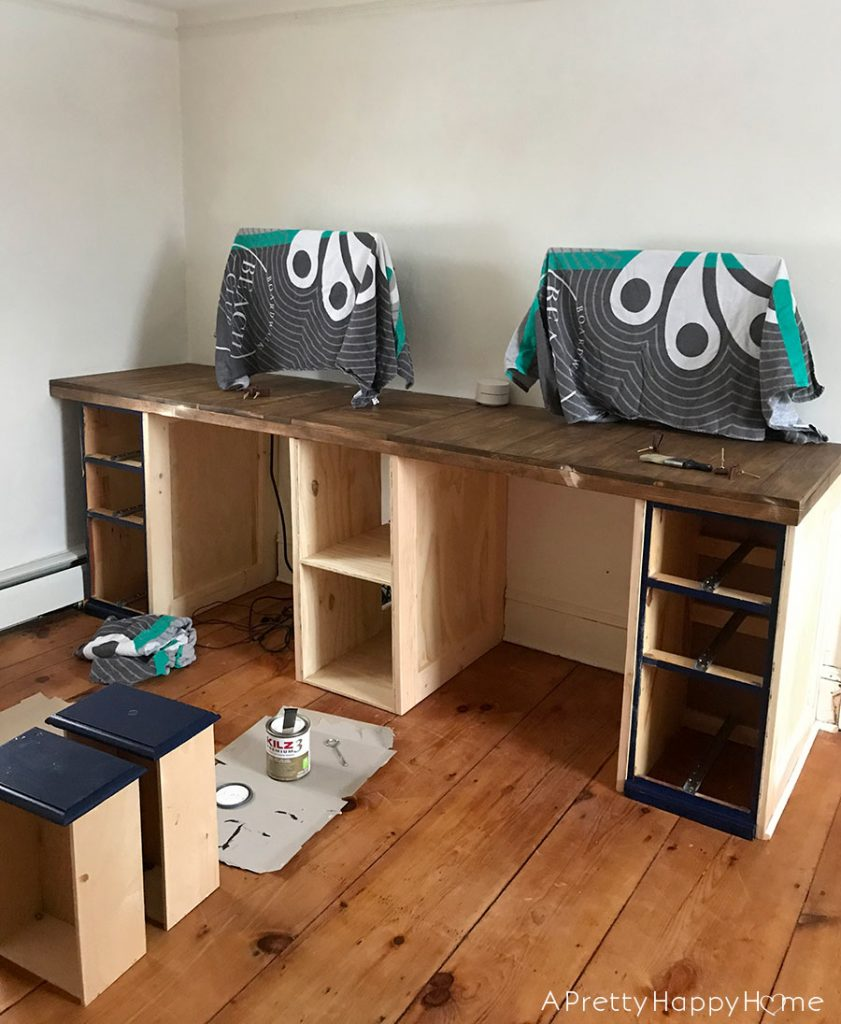 Built-In Computer Desk during DIY in our colonial farmhouse