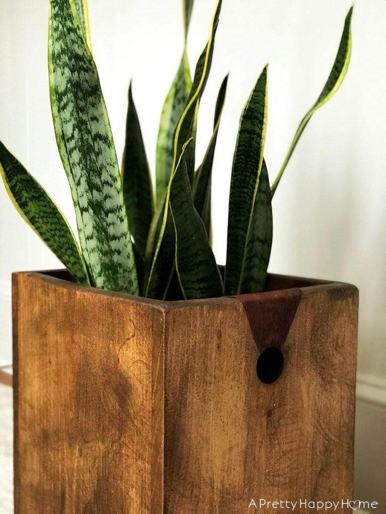 Wood Planter with Leather Handles