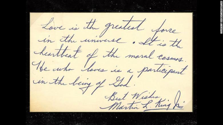 martin luther king jr handwritten note meaning of love on the happy list