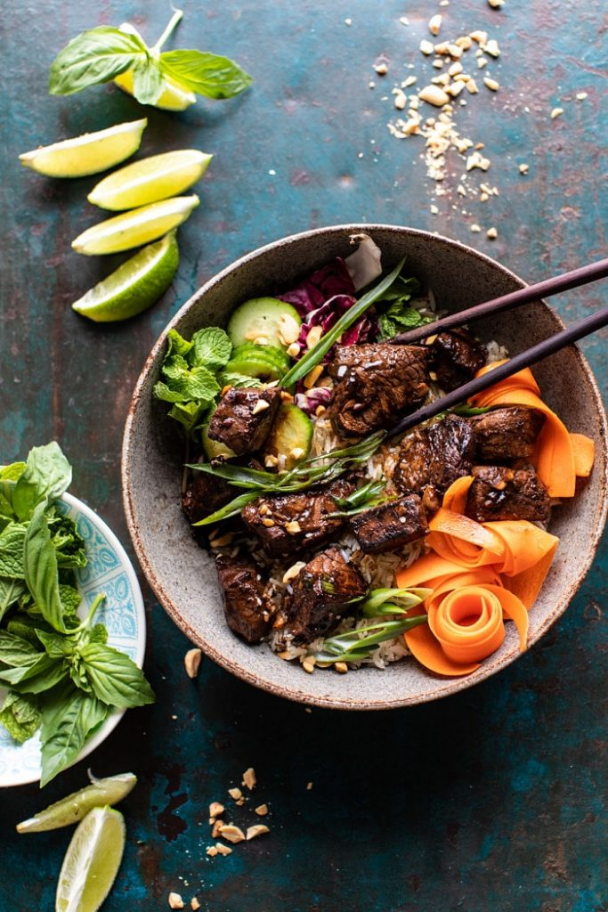 30 minute vietnamese beef and crispy rice bowl via half baked harvest on the happy list