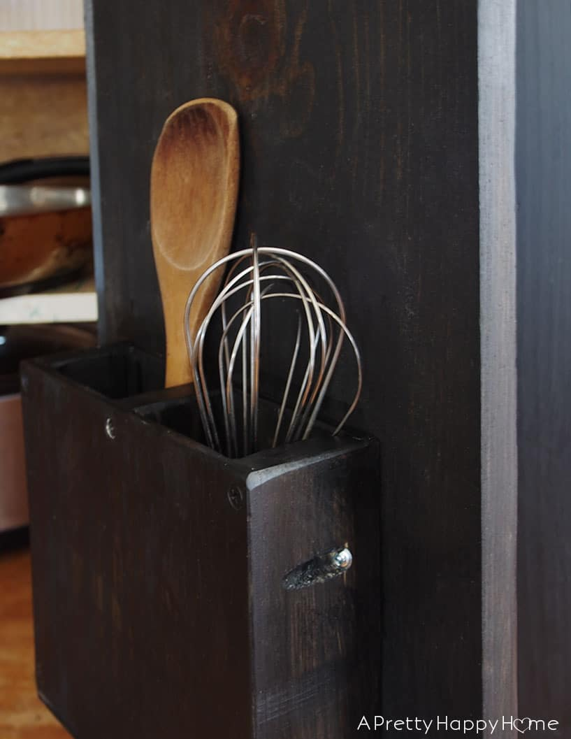DIY Cabinet Door Utensil Caddy