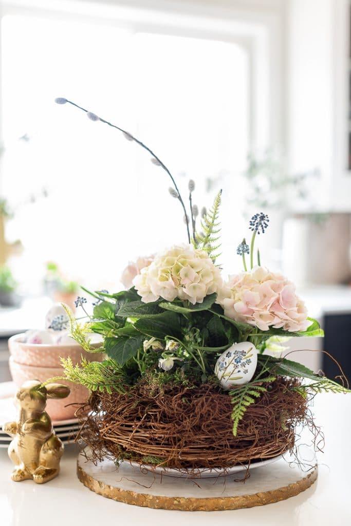 nest flower arrangement from craftberry bush on the happy list