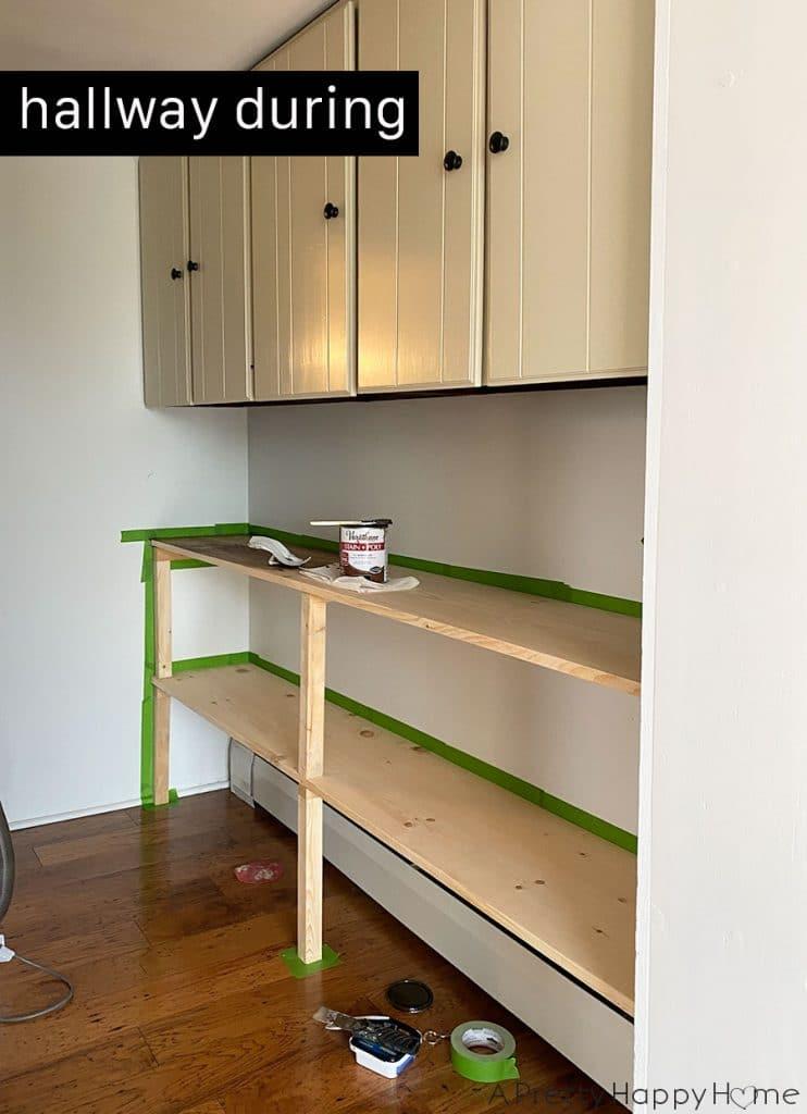 Built In Hallway Shelves during