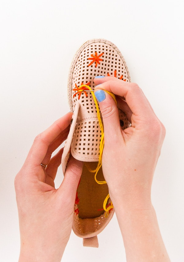 embroider shoe makeover via paper n stitch on the happy list