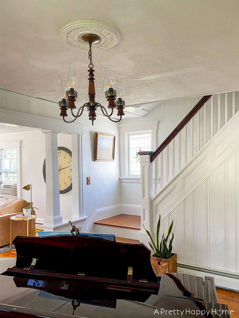 music room wood chandelier