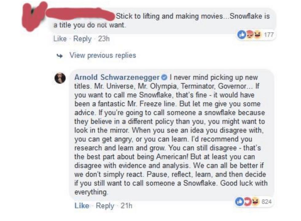 arnold Schwarzenegger snowflake response via upworthy on the happy list