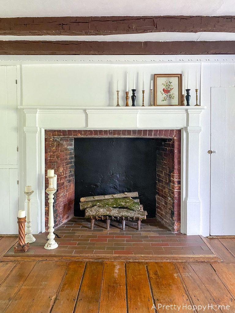 new ribbon old frame fireplace leland brewsaugh art
