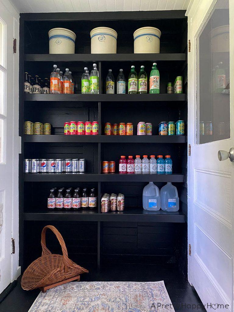 back porch shelves for drink storage