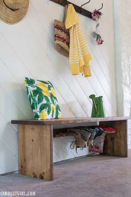 bench with boot rack via sawdust girl on the happy list