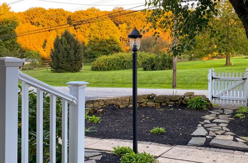 sunset colonial farmhouse front yard stone path on the happy list