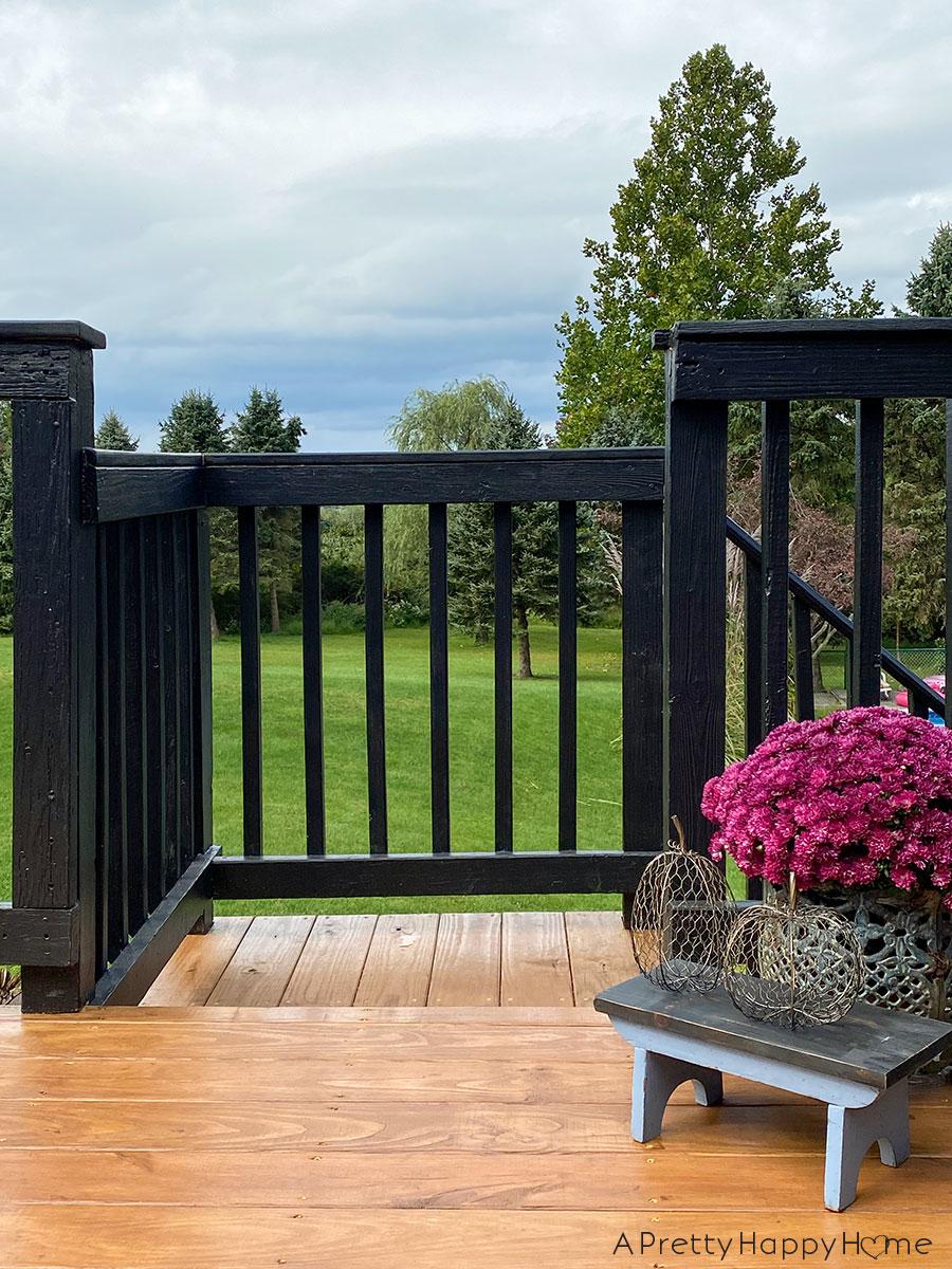 deck with black railing