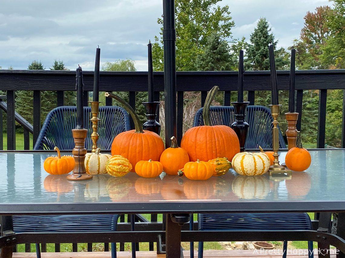 pumpkin centerpiece on the happy list