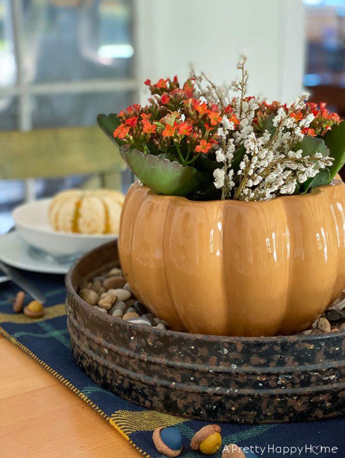 pumpkin shaped Soup Tureen Fall Centerpiece