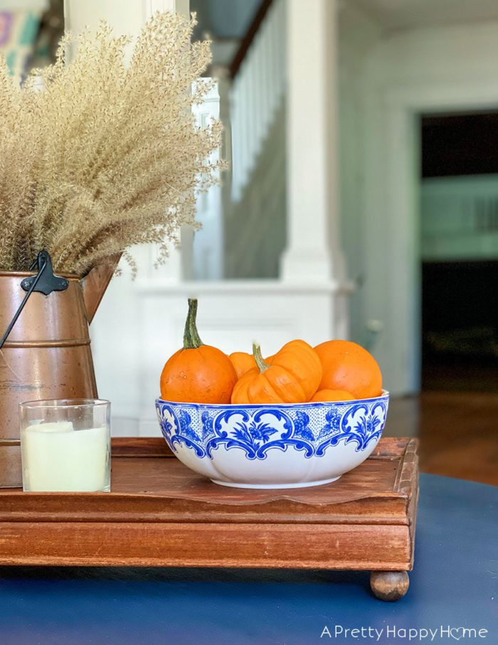fall coffee table with blue accents