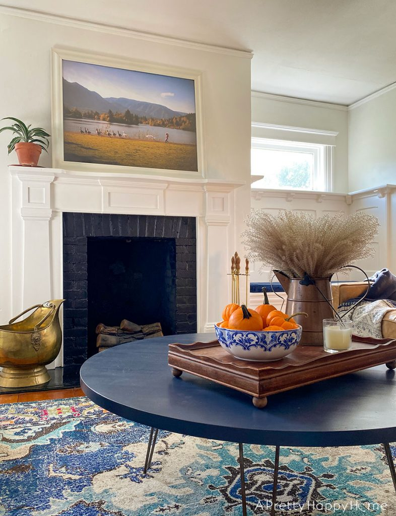 Fall Coffee Table with Blue Accents tiffany bowl