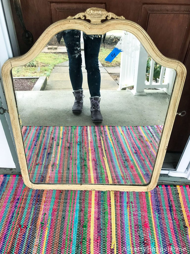Restored wood Arched Mirror