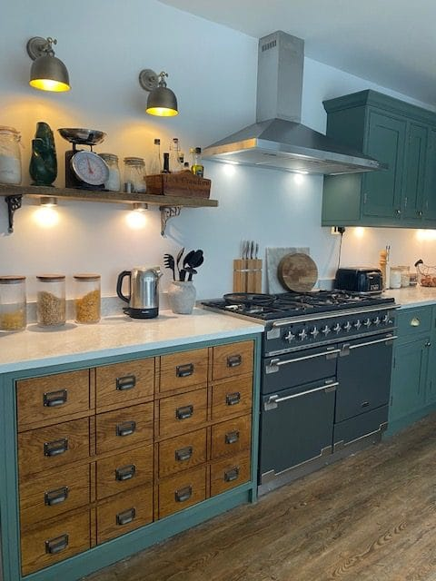 apothecary style kitchen cabinet via endoftherow.co.uk on the happy list
