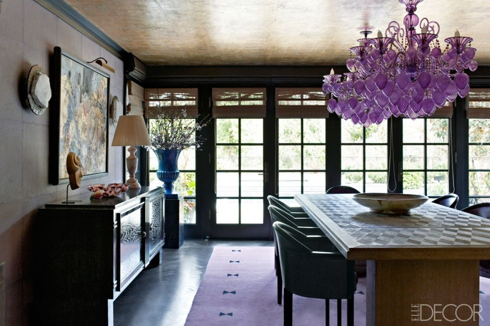 purple chandelier via elle decor on the happy list