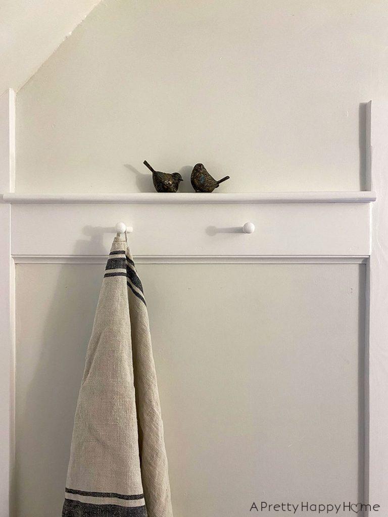 old new bathroom closet peg rail