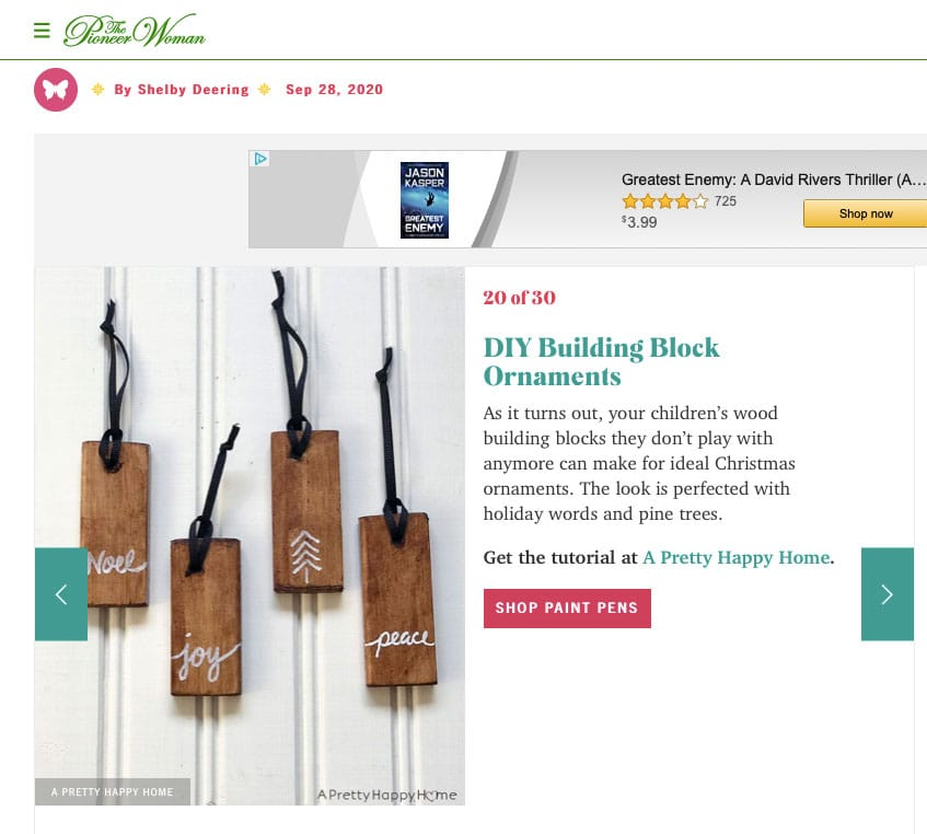 diy building block ornament on the pioneer woman website via the happy list